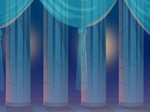 Empty hall with curtain. Stock Photo