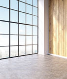 Empty hall. Emty hall with panoramic windows and wooden walls. Loft. City view. Concept of new office. 3D rendering Stock Image