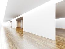 Empty hall for exhibit in gallery, wooden floor Stock Photos
