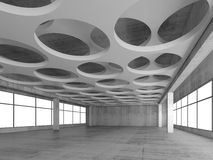 Empty hall interior background, 3d render. Empty concrete interior background with round holes pattern on white ceiling constructions, 3d illustration Stock Photos