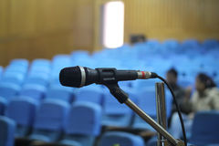 Empty hall microphone Stock Photography