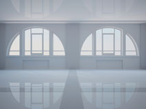 Empty hall with two large arched windows Royalty Free Stock Photography