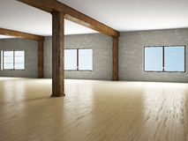 Empty hall with windows Stock Images