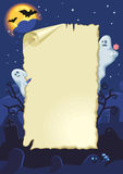 Empty halloween card. With ghosts in the night Royalty Free Stock Images