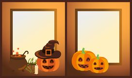 Empty Halloween Photo Frames with Ripe Pumpkins. That have funny faces, witch hat, lighted candle and vat full of potion vector illustrations Stock Image
