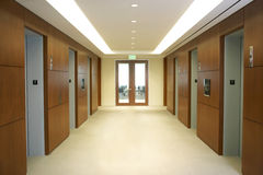 Empty hallway between elevators Royalty Free Stock Photos