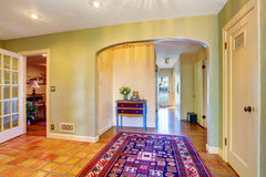 Empty hallway interior with green walls and rug Royalty Free Stock Image