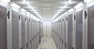 Empty hallway of server towers. In high quality 4k format stock video footage