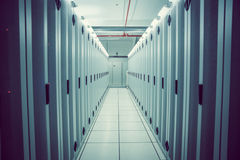 Empty hallway of server towers Royalty Free Stock Photography