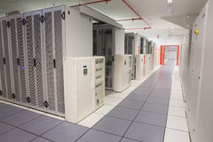 Empty hallway of server towers Royalty Free Stock Photos