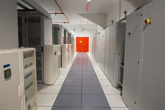 Empty hallway of server towers Stock Photos