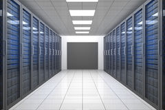 Empty hallway of tower servers Royalty Free Stock Images