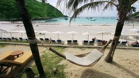 Empty hammock in an exotic beach. In tropic thailand stock video footage