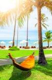 Empty hammock between palms trees Royalty Free Stock Photos