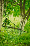 Empty hammock strung. Between two trees Royalty Free Stock Photos