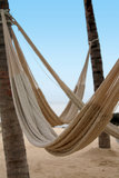 Empty Hammocks on a Tropical Beach Stock Images