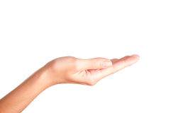 Empty hand. On a white background stock photos