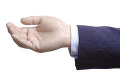 Empty hand. Against white background stock photography