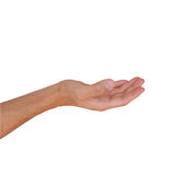 Empty hand with clipping path isolated on white Royalty Free Stock Photo
