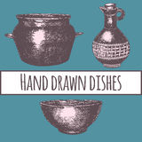 Empty hand drawn cooking dishes,. Pots, bottle and pans vector illustration
