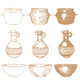 Empty hand drawn cooking dishes. Pots, bottle and pans stock illustration