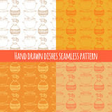 Empty hand drawn cooking dishes, seamless pattern. Empty hand drawn cooking dishes, pots, bottle and pans, seamless pattern vector illustration