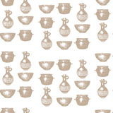 Empty hand drawn cooking dishes, seamless pattern Stock Image