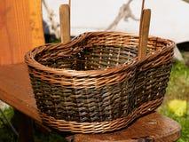 Empty hand made wicker basket Stock Image
