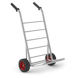Empty hand truck. Empty metal hand truck or sack barrow isolated on white Stock Photos
