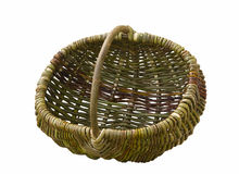 Empty handmade woven basket isolated on white. Old wicker basket on white background Royalty Free Stock Image