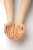 Empty hands of a beggar Royalty Free Stock Images