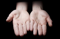 Empty hands on black Royalty Free Stock Image