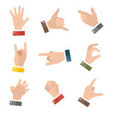 Empty hands holding protect giving gestures icons set isolated on white.  Royalty Free Stock Photography