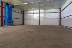 Empty hangar for fruits and vegetables in storage stock. production warehouse. Plant Industry stock photos