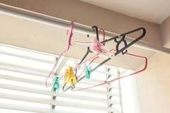 Empty hangers on aluminium Royalty Free Stock Photography