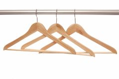 Empty  hangers are on white background. Royalty Free Stock Photo