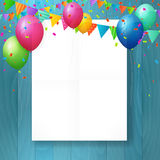 Empty happy birthday greeting card with balloons. Stock Photo