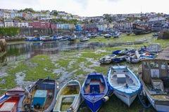 Empty harbor harbour with Golden-Hind Brixham Devon England UK Stock Images