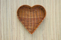 Empty heart form wicker basket Royalty Free Stock Photography