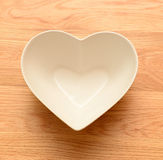 Empty heart shaped bowl Royalty Free Stock Photos