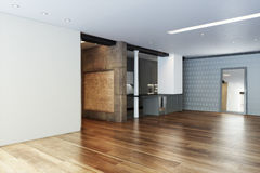 Empty Highrise apartment with column accent interior. And hardwood floors Royalty Free Stock Image