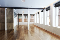 Empty Highrise apartment with column accent interior. And hardwood floors Royalty Free Stock Images