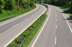 Empty highway. Double tracked highway road with no traffic Royalty Free Stock Image