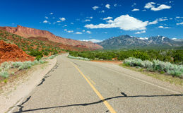 Empty Highway Through the American Southwest Stock Photo