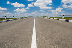 Empty highway with blue sky. Above Royalty Free Stock Photo