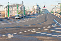 Empty highway in the city center Royalty Free Stock Photography
