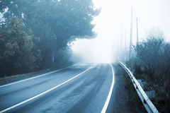 Empty highway in cold foggy morning. Empty rural highway in autumn foggy morning, stylized photo with cold blue tonal correction filter effect royalty free stock image