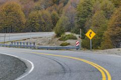 Patagonian Highway, Los Lagos, Chile. Empty highway crossing forest at chilean patagonian territory stock image