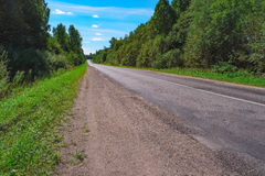 Empty highway through green forest Royalty Free Stock Photo