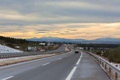 Free Empty Highway In Winter Spain Royalty Free Stock Image - 25738276